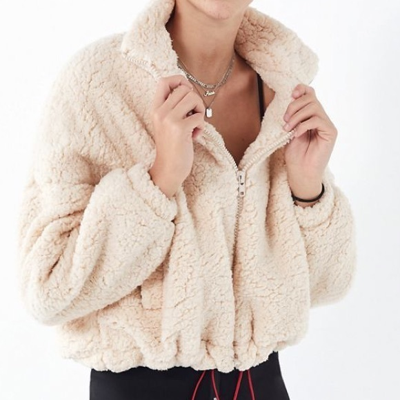 Urban Outfitters Willow Fuzzy Drawstring Teddy Jac